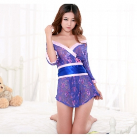 沐涩-深紫甜美镂空蝴蝶结蕾丝和服套装...
