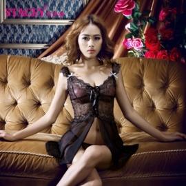 史黛丝 镂空蕾丝绑带式吊带睡裙111...