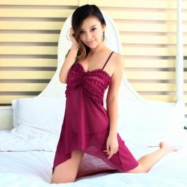 耶妮娅-奢华艳丽褶皱透明长裙紫色X3...